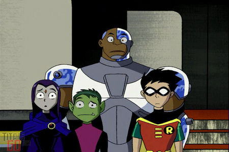 Raven, Cyborg, Robin and Beast Boy perplexed