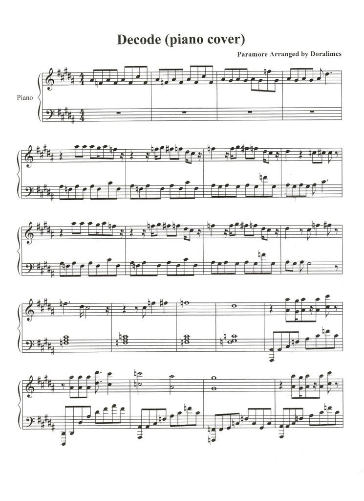 All Music Chords paramore sheet music : Decode by Paramore sheet music for piano - Twilight Series - Fanpop