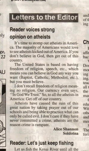 Reader Voices Strong Opinion on Atheists