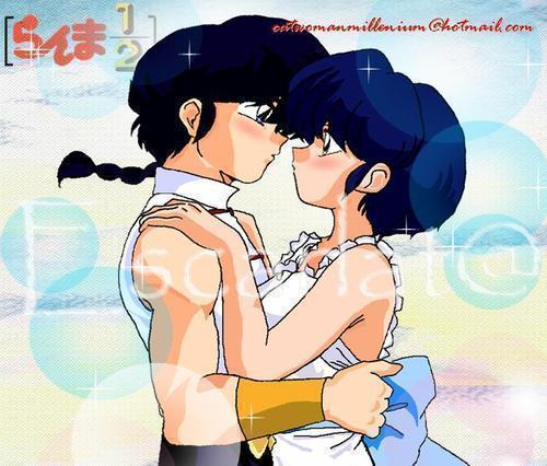 Akane and Ranma about to kiss