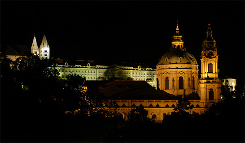 Night picture of St. Nicholas Cathedral in Prague Lesser Town