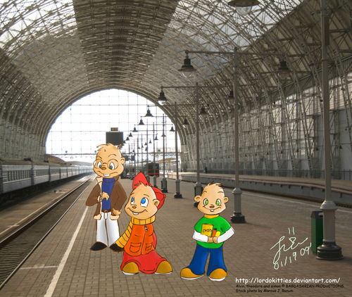 The chipmunks at train station