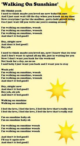 'Walking On Sunshine' Lyrics Sheet