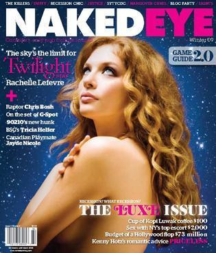 Rachelle on the cover of Naked Eye Magazine
