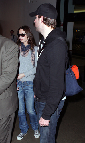 John and Emily Blunt at LAX Airport 17 February 2009