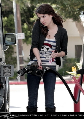 Emma at gas station in North Hollywood