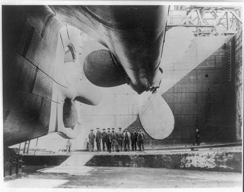 Titanic before launch
