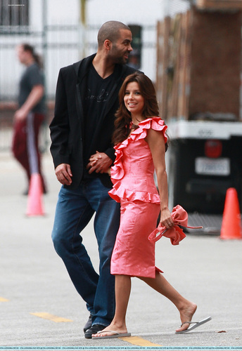 "Tony Parker visits his wife Eva Longoria Parker on the set of ""Desperate Housewives"" in Los Angeles"
