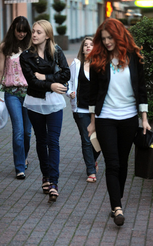 Dakota Fanning with Rachelle Lefevre out at Blue Cafe - May 8
