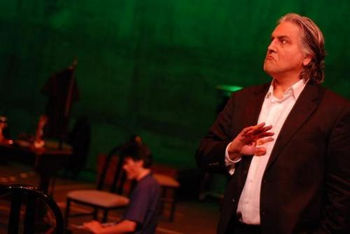 "Chakotay (Robert Beltran) workshopping for a Latin play ""Solitude"""