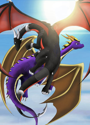 Cynder and Spyro in the air