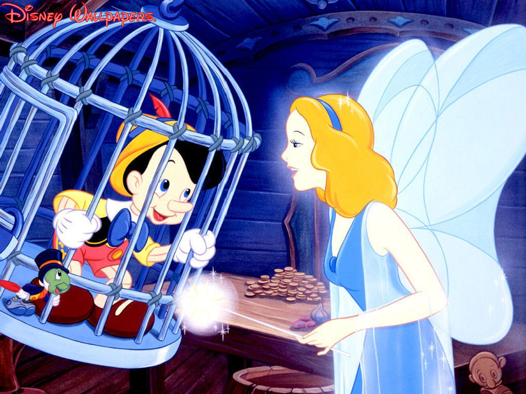 Pinocchio and the Blue Fairy Wallpaper