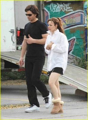 Rachel McAdams on the set