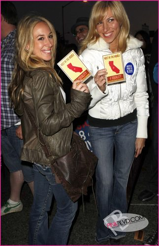 Haylie Duff and Debbie Gibson at the No on compliment 8 Protest