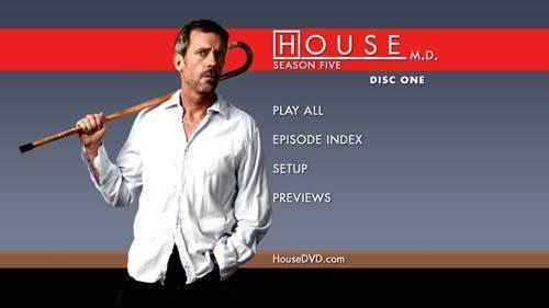 House Season 5 DVD cover and Menu