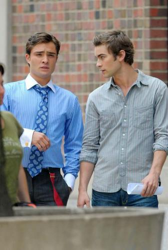 Chace/Ed On Set