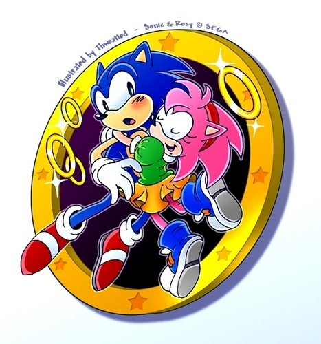 Sonic and Amy hug
