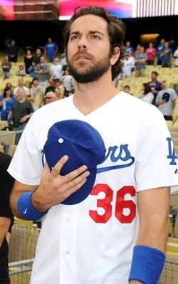 Zachary Levi Throws Ceremonial First Pitch At The Dodger Game