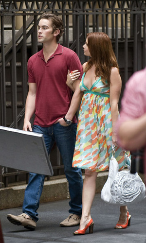 Chace Crawford on the set of Gossip Girl