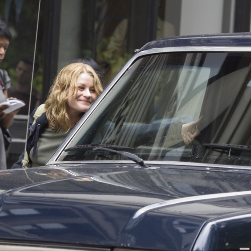 Emilie on the set of 'Remember Me'