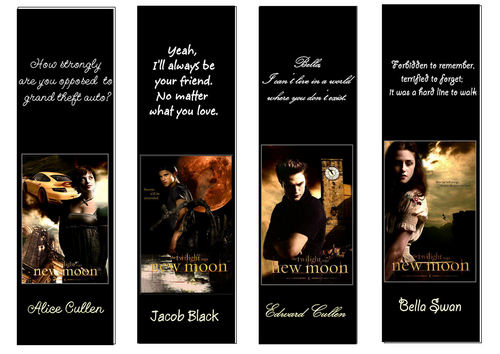 New Moon- marcalibros, Bookmarks
