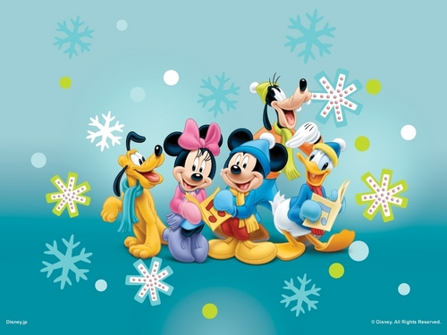 Mickey Mouse and Friends Caroling Wallpaper