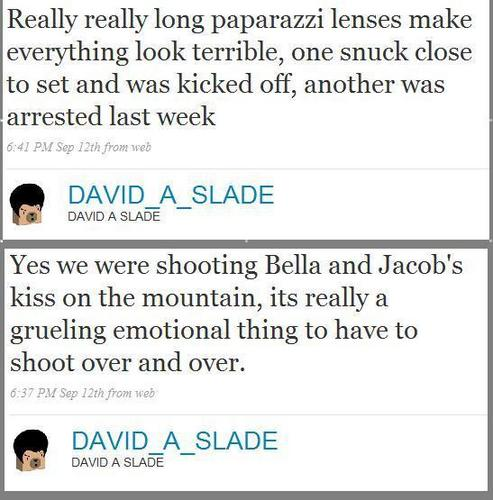 David Slade newest update (bella/jacob kiss filming)