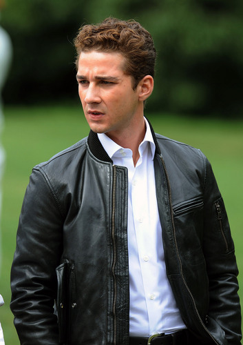 Shia On Set of 'Wall rue 2: Money Never Sleeps'